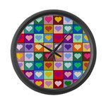Rainbow Heart Squares Pattern Large Wall Clock