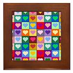 Rainbow Heart Squares Pattern Framed Tile