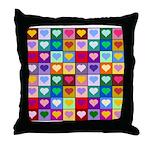 Rainbow Heart Squares Pattern Throw Pillow