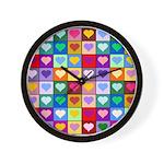 Rainbow Heart Squares Pattern Wall Clock