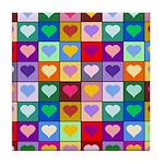 Rainbow Heart Squares Pattern Tile Coaster