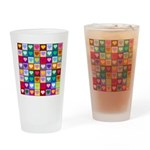 Rainbow Heart Squares Pattern Drinking Glass