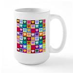 Rainbow Heart Squares Pattern Large Mug