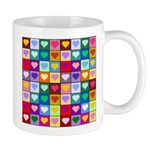 Rainbow Heart Squares Pattern Mug