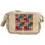 Rainbow Heart Squares Pattern Messenger Bag