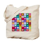 Rainbow Heart Squares Pattern Tote Bag