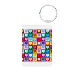 Rainbow Heart Squares Pattern Aluminum Photo Keych
