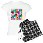 Rainbow Heart Squares Pattern Women's Light Pajama