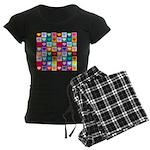 Rainbow Heart Squares Pattern Women's Dark Pajamas