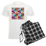 Rainbow Heart Squares Pattern Men's Light Pajamas