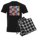 Rainbow Heart Squares Pattern Men's Dark Pajamas