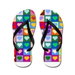 Rainbow Heart Squares Pattern Flip Flops