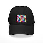 Rainbow Heart Squares Pattern Black Cap