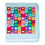Rainbow Heart Squares Pattern baby blanket