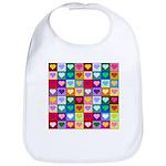 Rainbow Heart Squares Pattern Bib