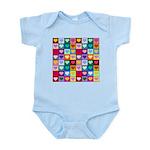 Rainbow Heart Squares Pattern Infant Bodysuit