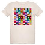 Rainbow Heart Squares Pattern Organic Kids T-Shirt