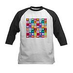 Rainbow Heart Squares Pattern Kids Baseball Jersey