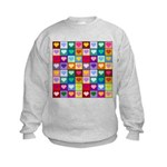 Rainbow Heart Squares Pattern Kids Sweatshirt