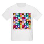 Rainbow Heart Squares Pattern Kids Light T-Shirt