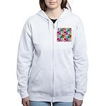 Rainbow Heart Squares Pattern Women's Zip Hoodie
