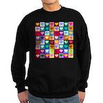 Rainbow Heart Squares Pattern Sweatshirt (dark)