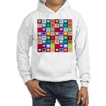 Rainbow Heart Squares Pattern Hooded Sweatshirt