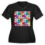 Rainbow Heart Squares Pattern Women's Plus Size V-