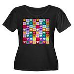 Rainbow Heart Squares Pattern Women's Plus Size Sc