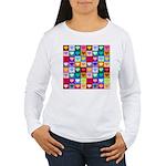 Rainbow Heart Squares Pattern Women's Long Sleeve