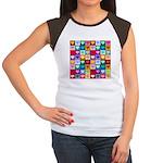 Rainbow Heart Squares Pattern Women's Cap Sleeve T