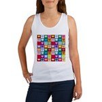 Rainbow Heart Squares Pattern Women's Tank Top