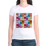 Rainbow Heart Squares Pattern Jr. Ringer T-Shirt