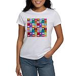 Rainbow Heart Squares Pattern Women's T-Shirt