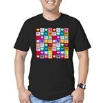 Rainbow Heart Squares Pattern Men's Fitted T-Shirt