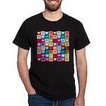 Rainbow Heart Squares Pattern Dark T-Shirt