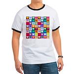 Rainbow Heart Squares Pattern Ringer T