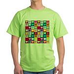 Rainbow Heart Squares Pattern Green T-Shirt