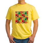 Rainbow Heart Squares Pattern Yellow T-Shirt