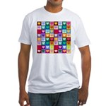 Rainbow Heart Squares Pattern Fitted T-Shirt