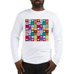 Rainbow Heart Squares Pattern Long Sleeve T-Shirt