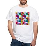 Rainbow Heart Squares Pattern White T-Shirt