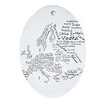 European Food Map Ornament (Oval)