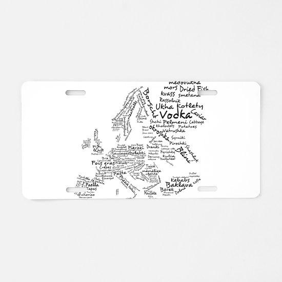 European Food Map Aluminum License Plate