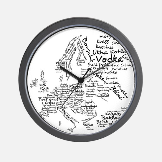 European Food Map Wall Clock