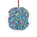 Arty Blue Mosaic Ornament (Round)
