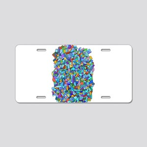 Arty Blue Mosaic Aluminum License Plate