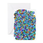 Arty Blue Mosaic Greeting Cards (Pk of 10)