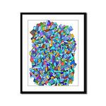 Arty Blue Mosaic Framed Panel Print