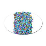 Arty Blue Mosaic 38.5 x 24.5 Oval Wall Peel